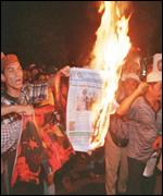 [ image: Pro-government newspapers have been burned]